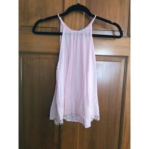baby pink chiffon tank with lace detailing